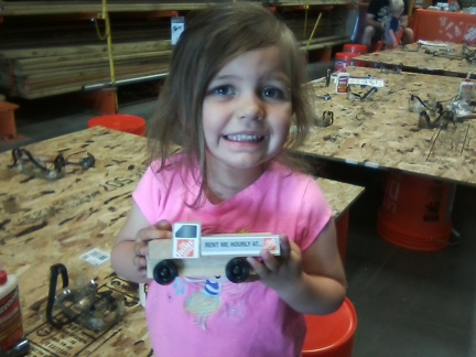 Greta built a Home Depot truck with papa