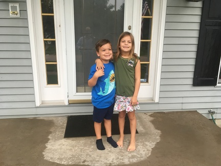 First Day of School 2019 - JB Kindergarden and Greta 3rd grade2