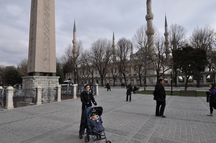 Erynn and Greta in front of the Blue Mosque